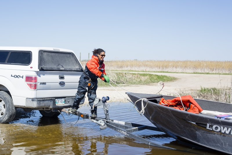 Bringing the boat in at Whitemud Launch, Manitoba