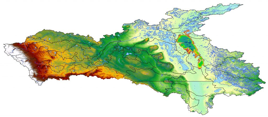Digital elevation model of the Nelson River Watershed
